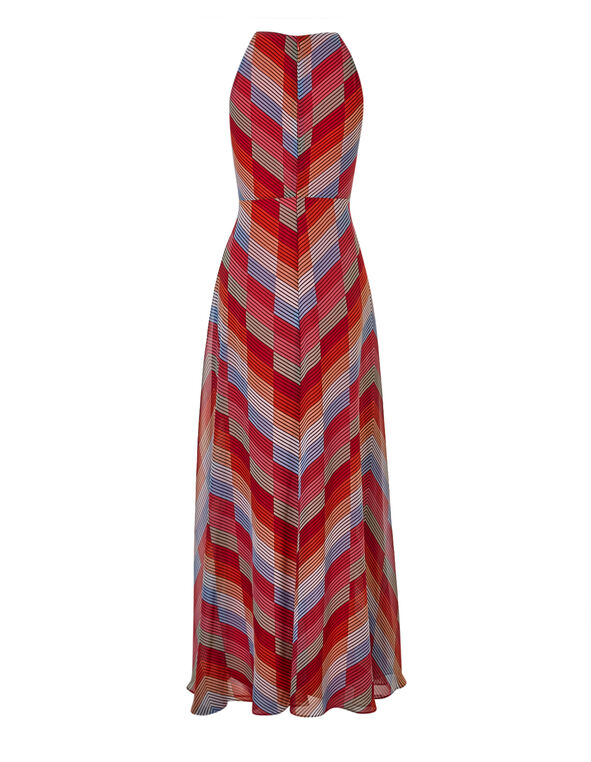 Orange Chiffon Maxi Dress, Orange, hi-res
