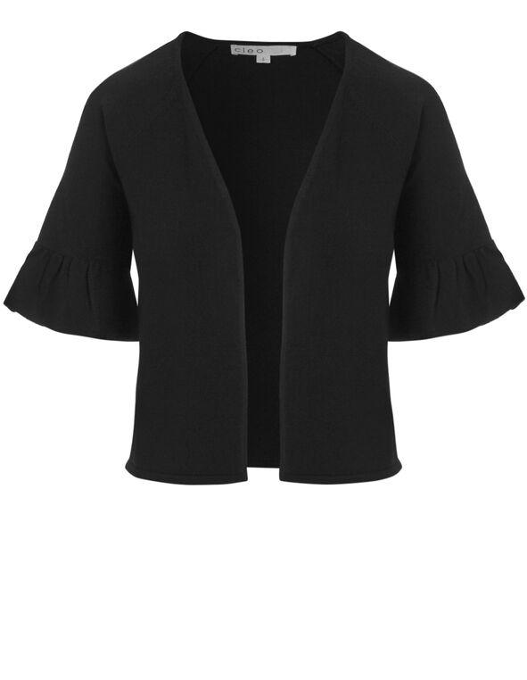 Black Short Open Cardigan, Black, hi-res