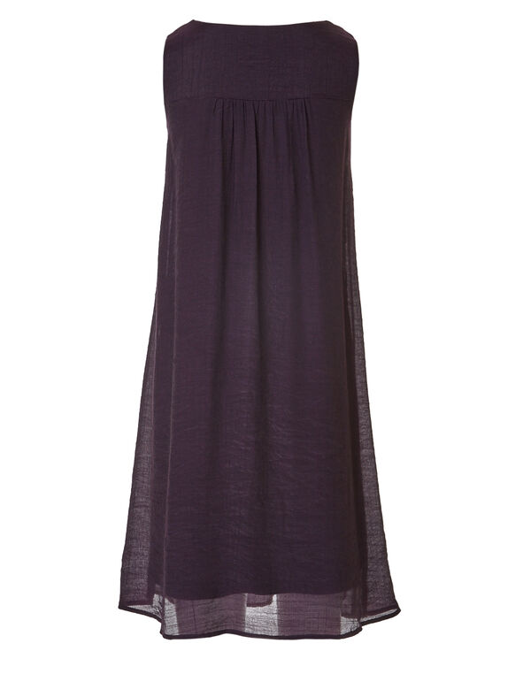 Purple Embroidered Gauze Dress, Purple, hi-res