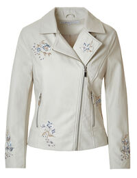 Stone Floral Faux Leather Jacket