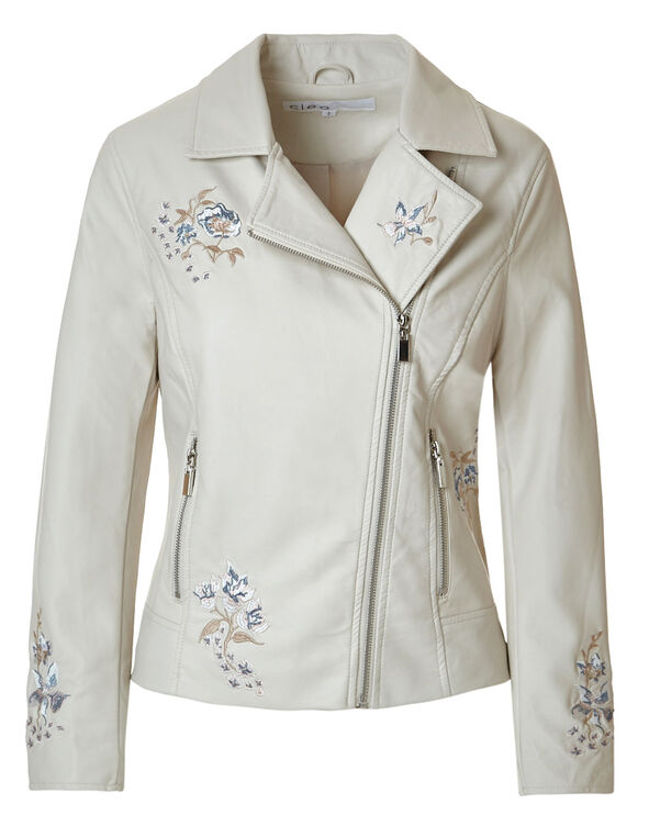 Stone Floral Faux Leather Jacket, Stone, hi-res