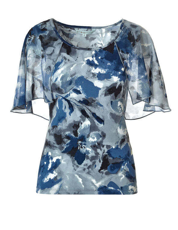 Navy Blurred Floral Top, Navy/Turquoise/White, hi-res
