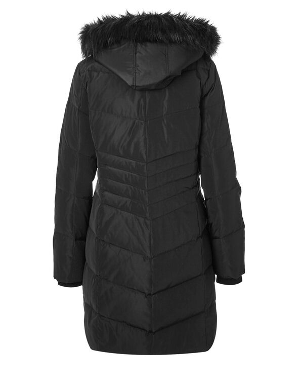 Black Long Down Coat, Black, hi-res