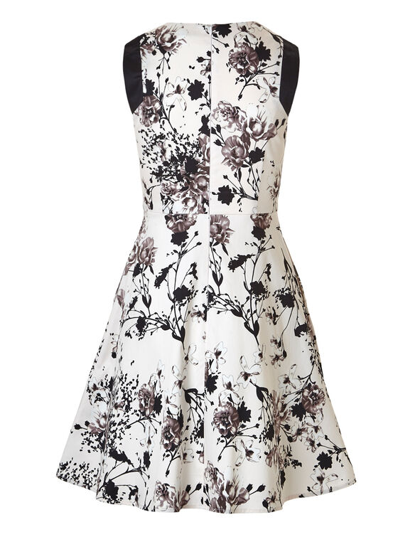 Floral Sateen Dress With Pockets, Neutral Floral, hi-res