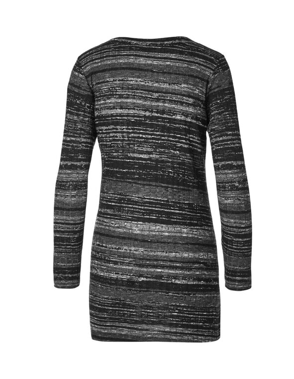 Black Stripe Rib Knit Tunic, Ivory/Black Stripe, hi-res