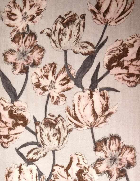Neutral Tulip Oblong Scarf, Grey, hi-res