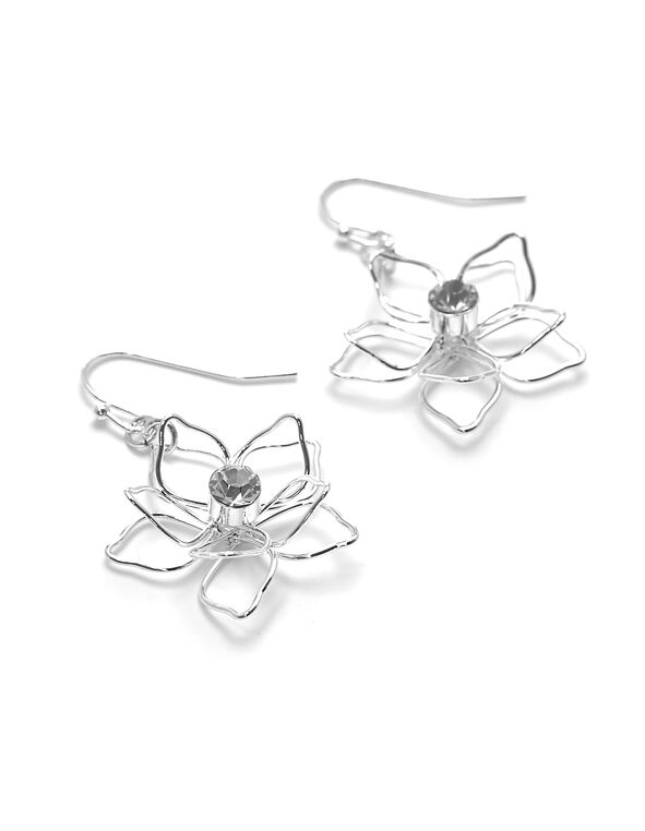 Silver Flower Earring, Silver, hi-res