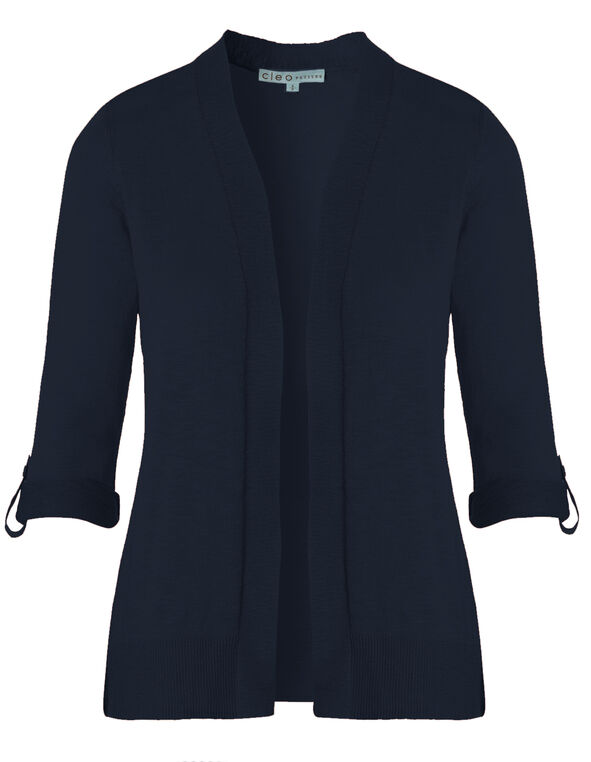Navy Slub Roll Sleeve Cardigan, Navy, hi-res