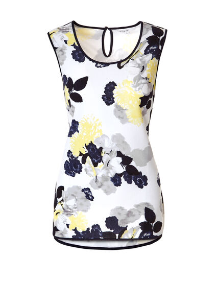 Floral Print Piped Top, White/Yellow/Black/Grey, hi-res