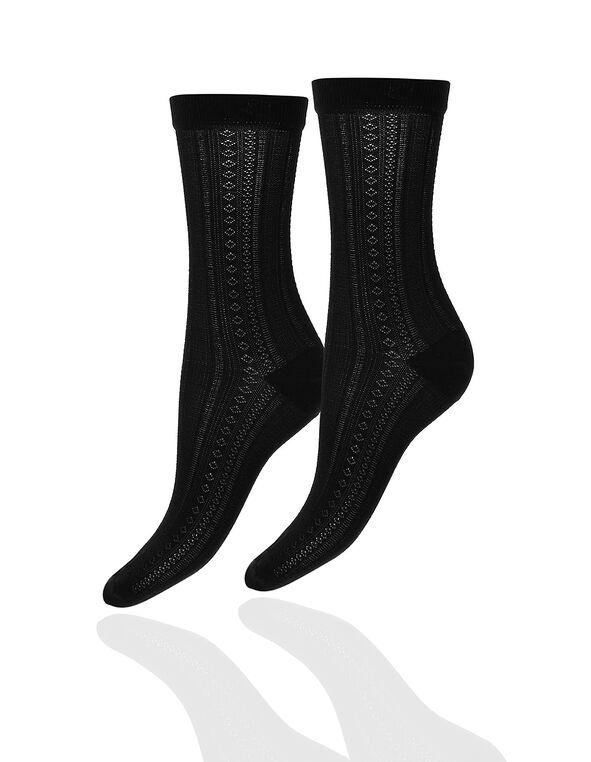 Black Pattern Trouser Sock, Black, hi-res
