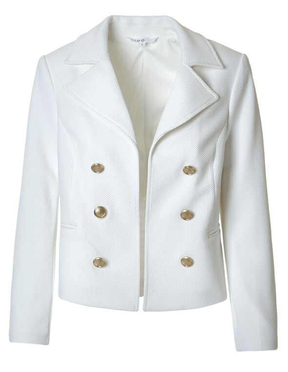 Ivory Pique Knit Military Blazer, Ivory, hi-res