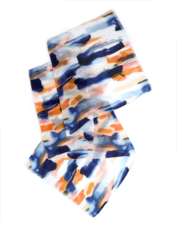 Watercolour Crinkle Scarf, Multi, hi-res