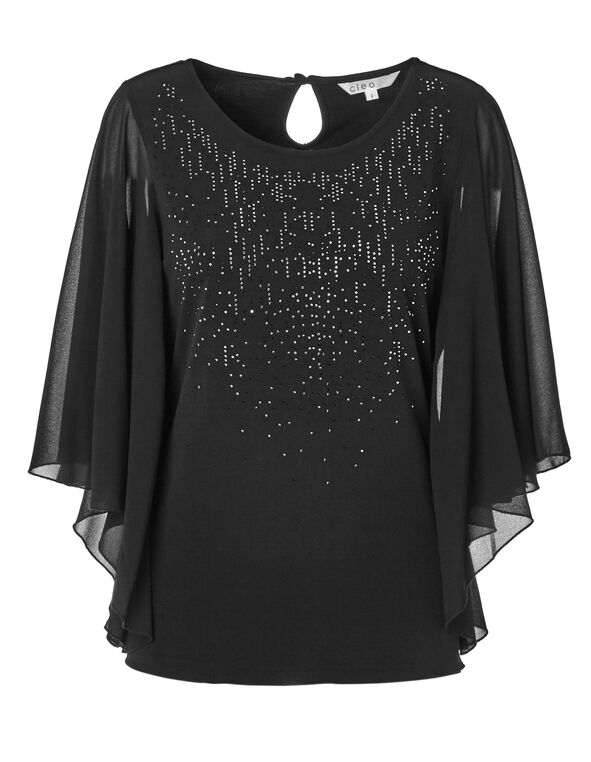 Black Embellished Caftan Top, Black, hi-res
