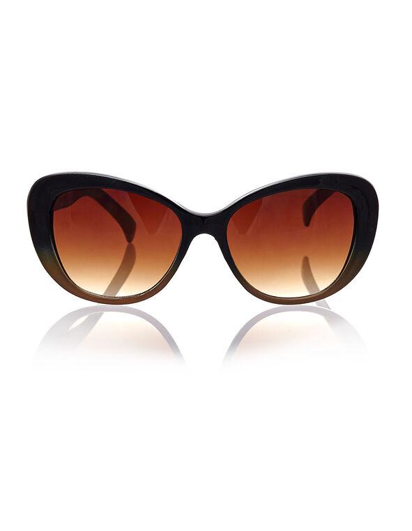Black Ombre Cat Eye Sunglasses, Black, hi-res