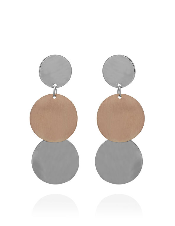 Brushed Tiered Disk Earring, Rose Gold/Silver, hi-res