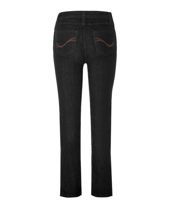Black Straight Leg X-Short Jean, Black, hi-res