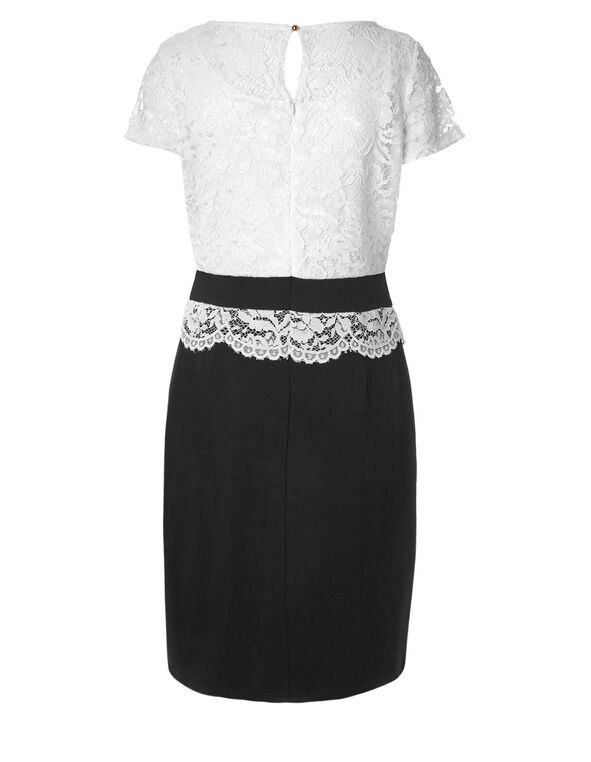 White Lace Shift Dress, Black/White, hi-res