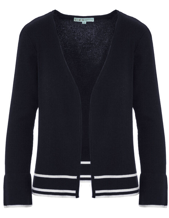 Navy Bell Sleeve Mid Cardigan, Navy, hi-res