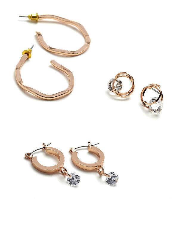 Rose Gold Earring Set, Rose Gold, hi-res