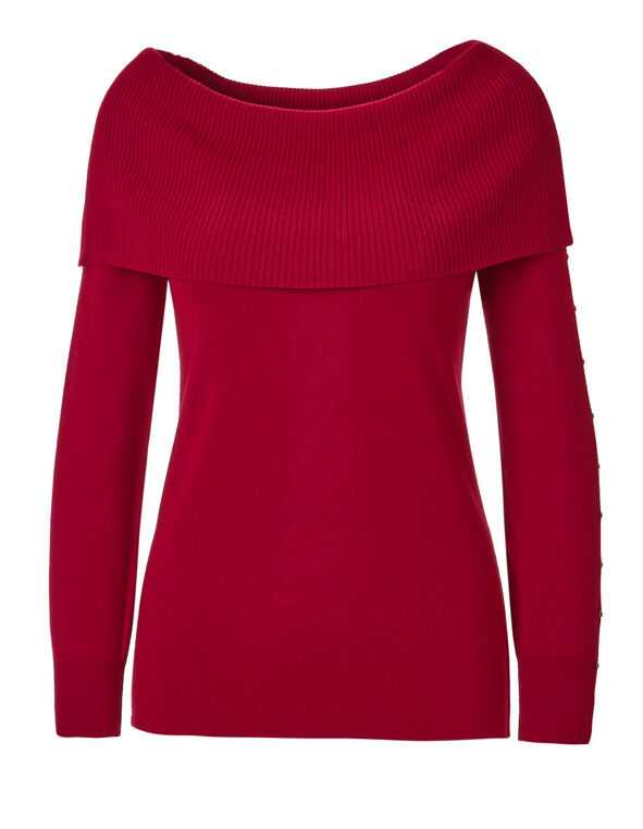 Winter Red Marilyn Neck Sweater, Winter Red, hi-res