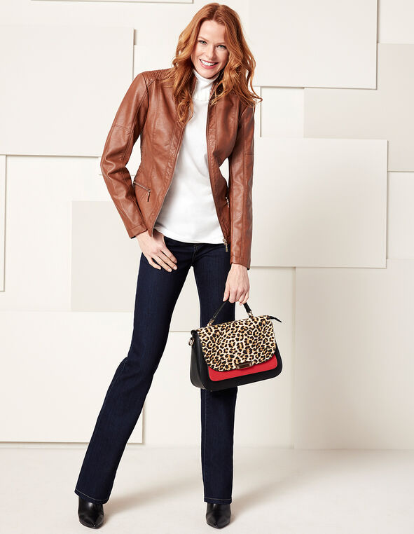 Brown Mock Faux Leather Jacket, Medium Brown, hi-res