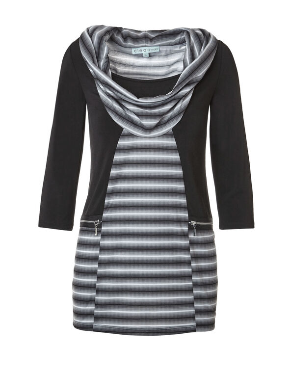 Striped Cowl Neck Fooler Top, Black/Ivory, hi-res