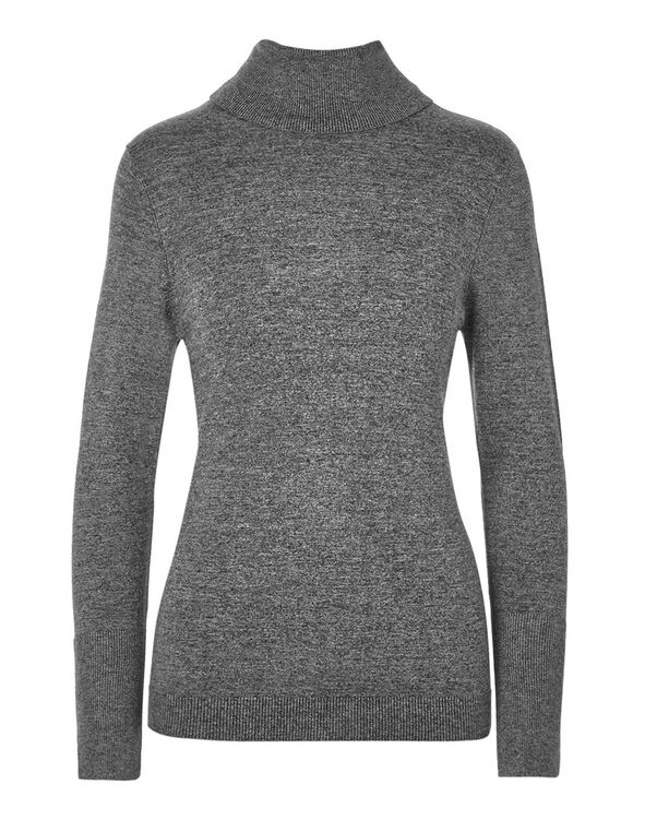 Grey Turtleneck Sweater, Grey, hi-res