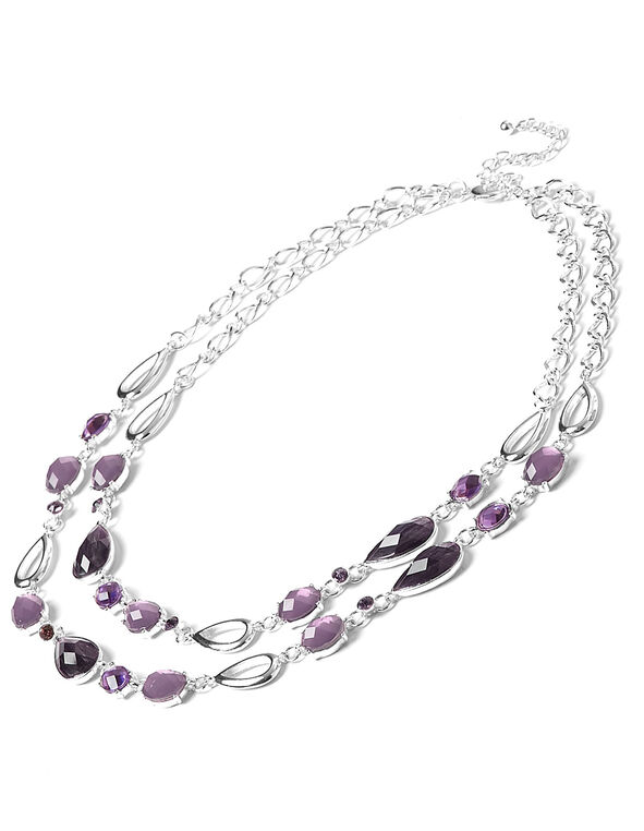 Purple Stone Necklace, Purple, hi-res
