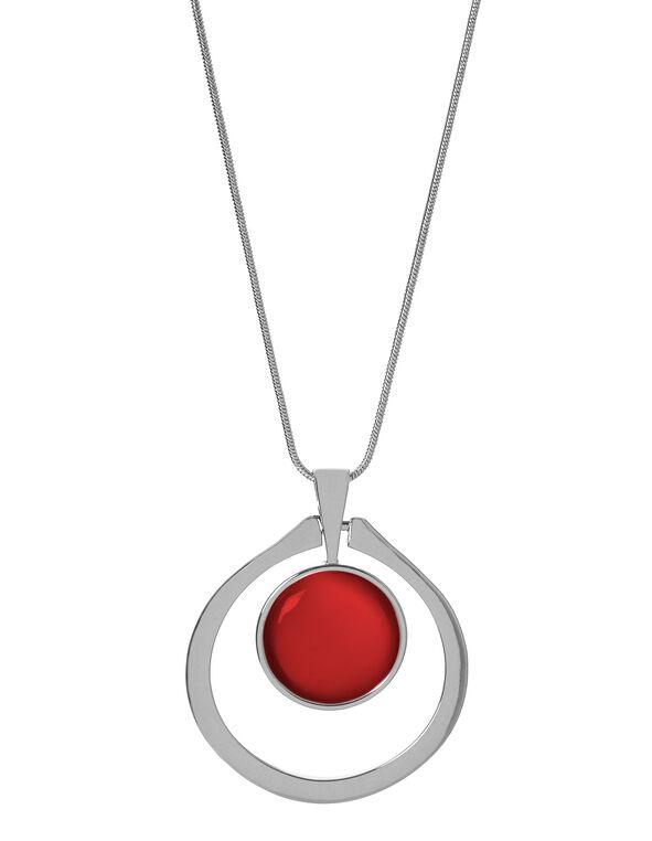 Red Cat Eye Adjustable Necklace, Red, hi-res