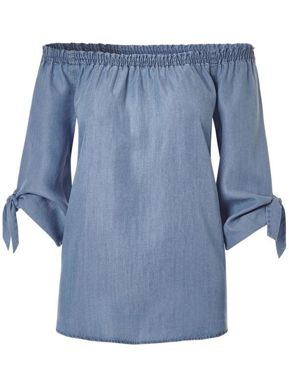 Denim On Off Shoulder Blouse, Denim Blue, hi-res