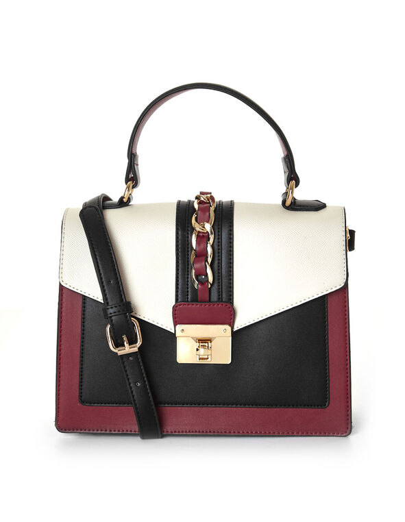 Red Colour Blocked Square Handbag, Red, hi-res