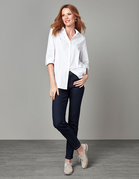 White Pearl Structured Blouse, White, hi-res