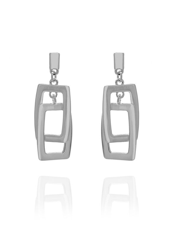 Silver Rectangle Drop Earring, Silver, hi-res