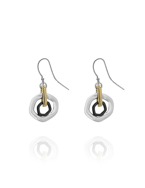 Tiered Circle Earring, Silver/Gold/Hematite, hi-res