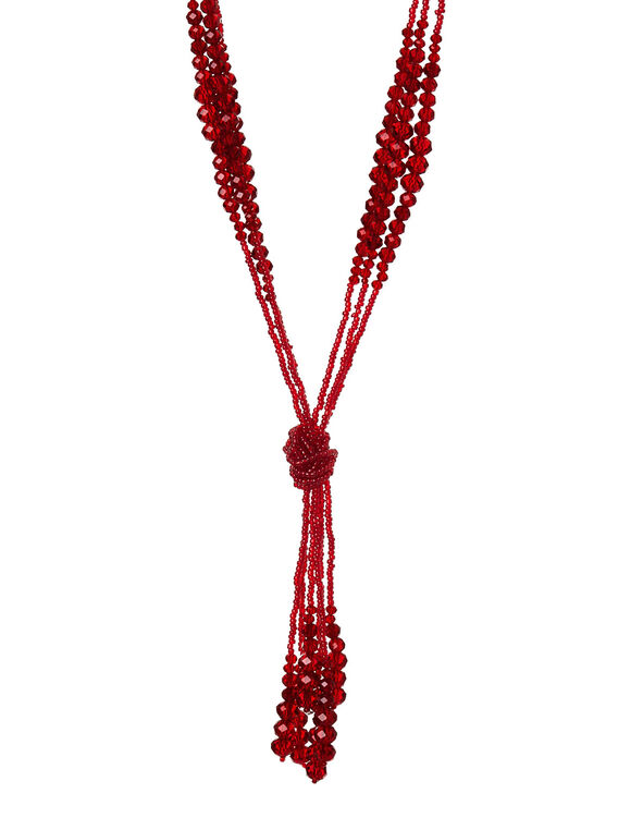 Dark Red Beaded Necklace, Red, hi-res