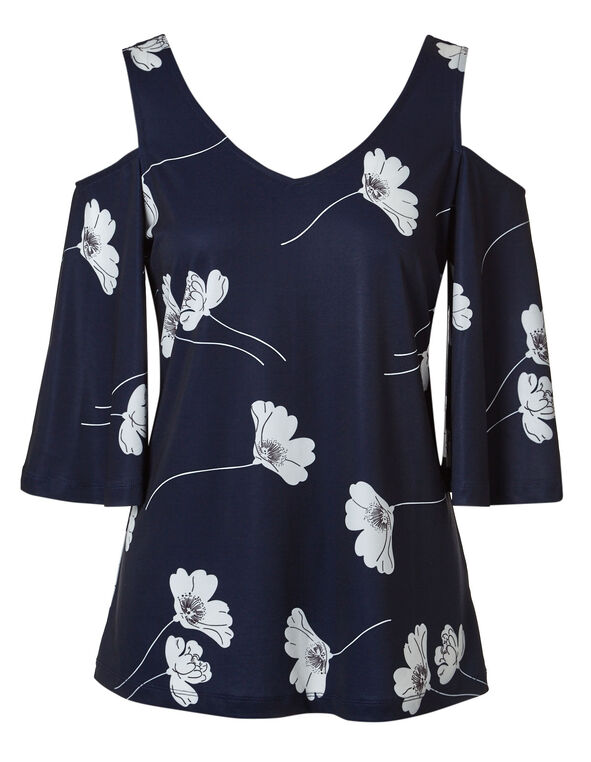 Navy Floral Cold Shoulder Top, Navy/White, hi-res