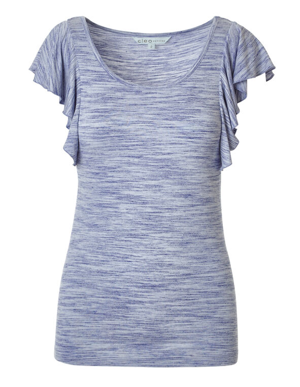 Chambray Short Sleeve Flutter Top, Chambray, hi-res