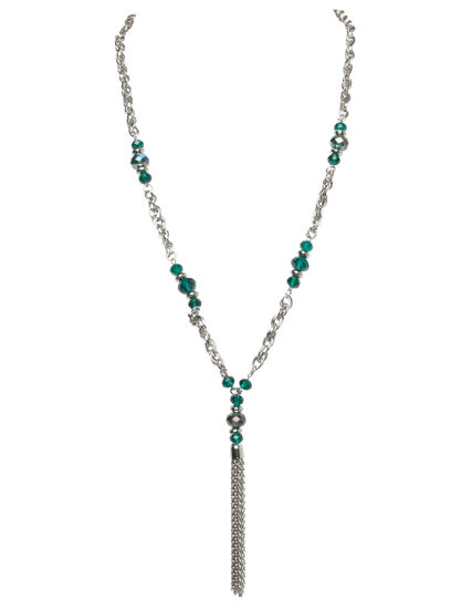 Teal Bead Tassel Necklace, Rhodium/Teal Green, hi-res