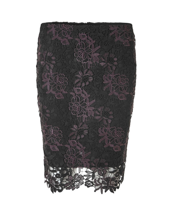 Lace Overlay Pencil Skirt, Black, hi-res