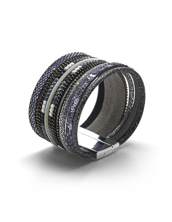 Black Magnetic Wrap Bracelet, Black, hi-res
