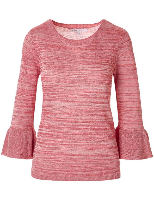 Pink Flutter Sleeve Sweater, Fresh Pink, hi-res