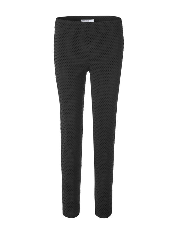 Cleo Signature Flocked  Pant, Black, hi-res