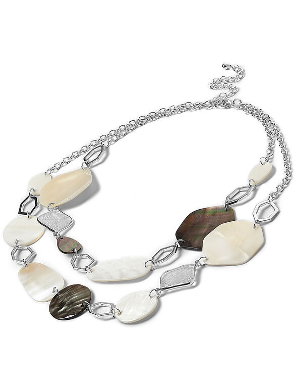 White Mixed Shell Necklace, White, hi-res