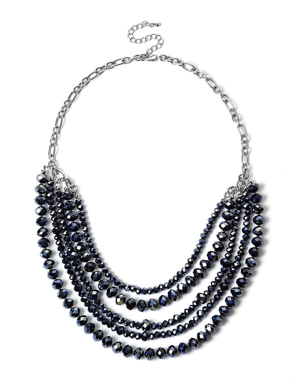 Navy Faceted Beaded Necklace, Navy, hi-res