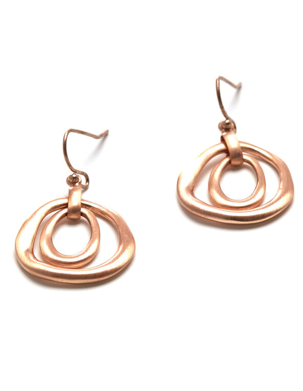 Rose Gold Double Teardrop Earring, Rose Gold, hi-res