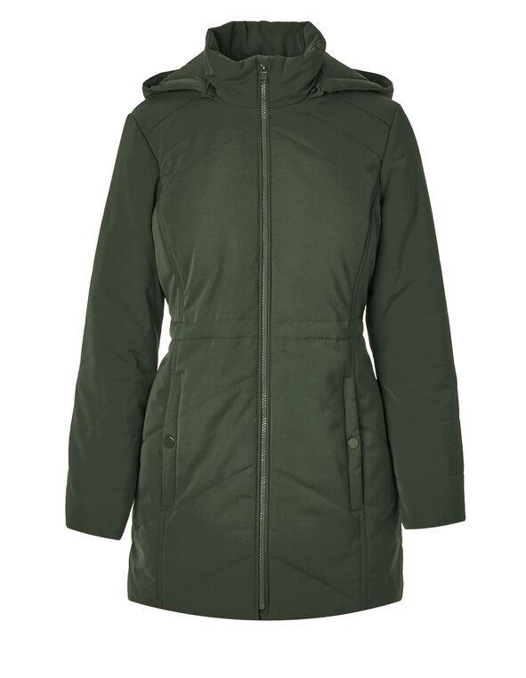 Olive Long Polyfill Coat, Olive, hi-res