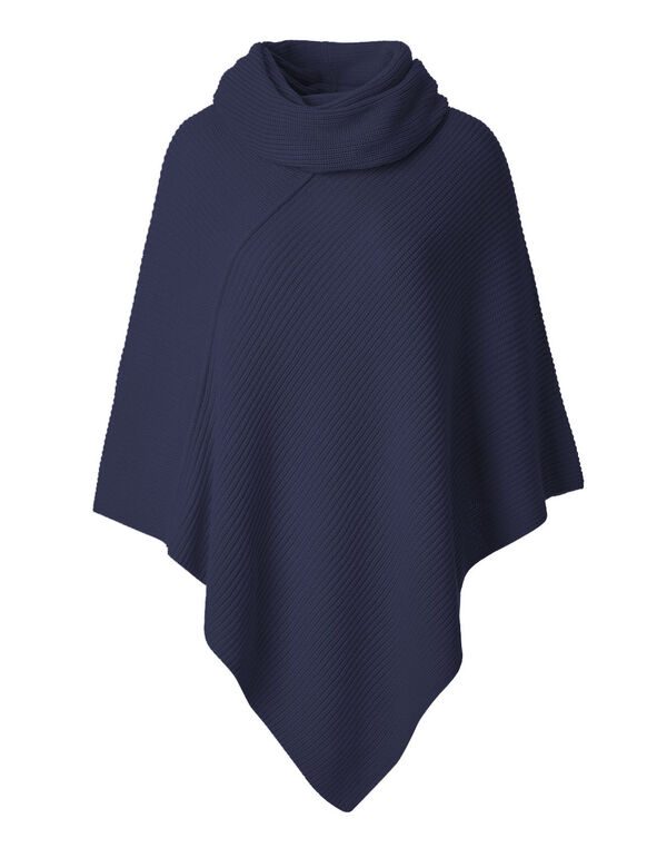 Navy Ottoman Poncho With Scarf, Navy, hi-res