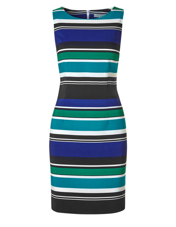 Striped Sheath Dress, Turquoise Stripe, hi-res