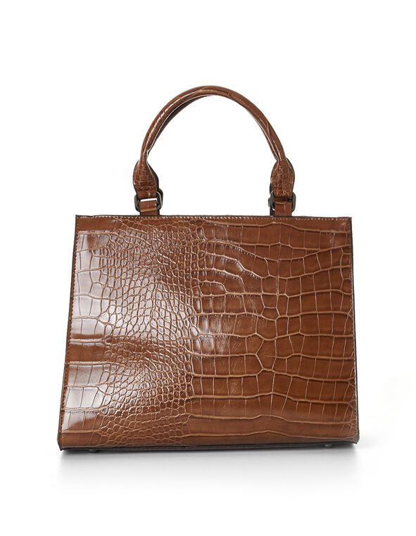 Cognac Croco Handbag, Cognac, hi-res