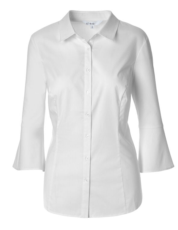White Bell Sleeve Blouse, White, hi-res